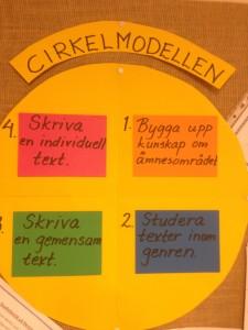 Det här är cirkelmodellen som jag gick igenom med eleverna. Vi ska jobba efter den då vi ska utveckla skrivandet av olika typer av texter. (genrer)