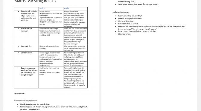 Planering och matris kring svA-undervisningen, vår skolgård.