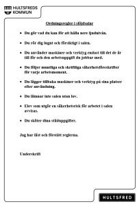 Ordningsregler slöjd